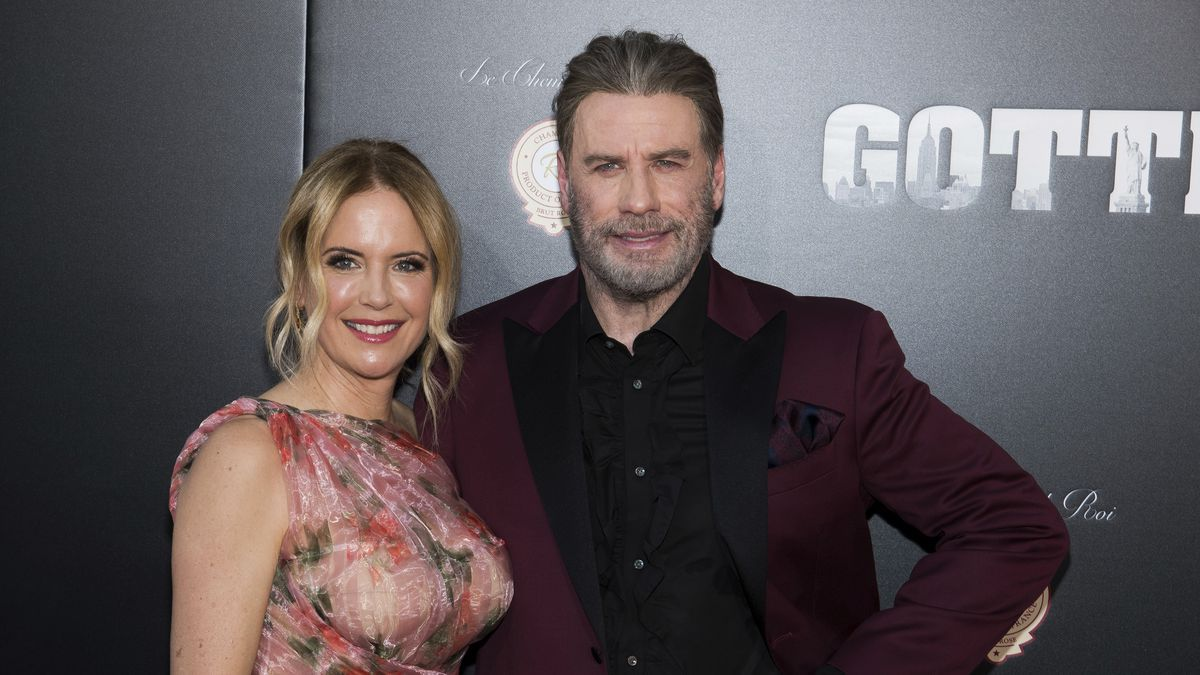 "Kelly Preston and John Travolta attend the premiere of ""Gotti"" at the SVA..."
