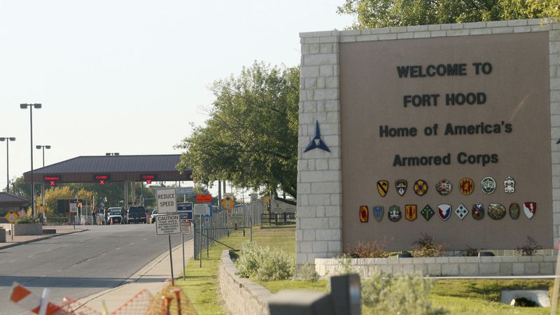 This Nov. 5, 2009, file photo shows the entrance to Fort Hood Army Base in Fort Hood, Texas,...