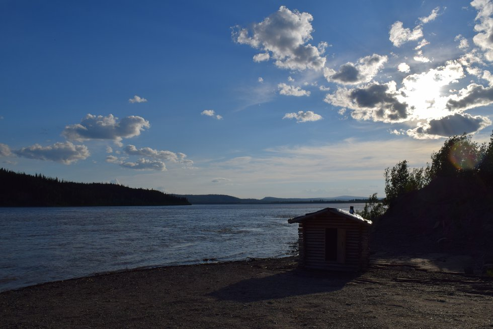 Sunshine and blue skies above the Yukon River. June 2020 photo by Beth Verge.
