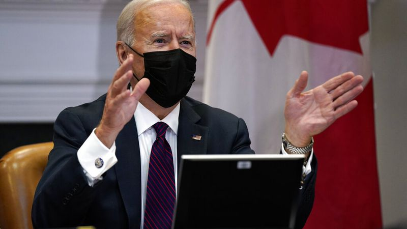 President Joe Biden holds a virtual bilateral meeting with Canadian Prime Minister Justin...