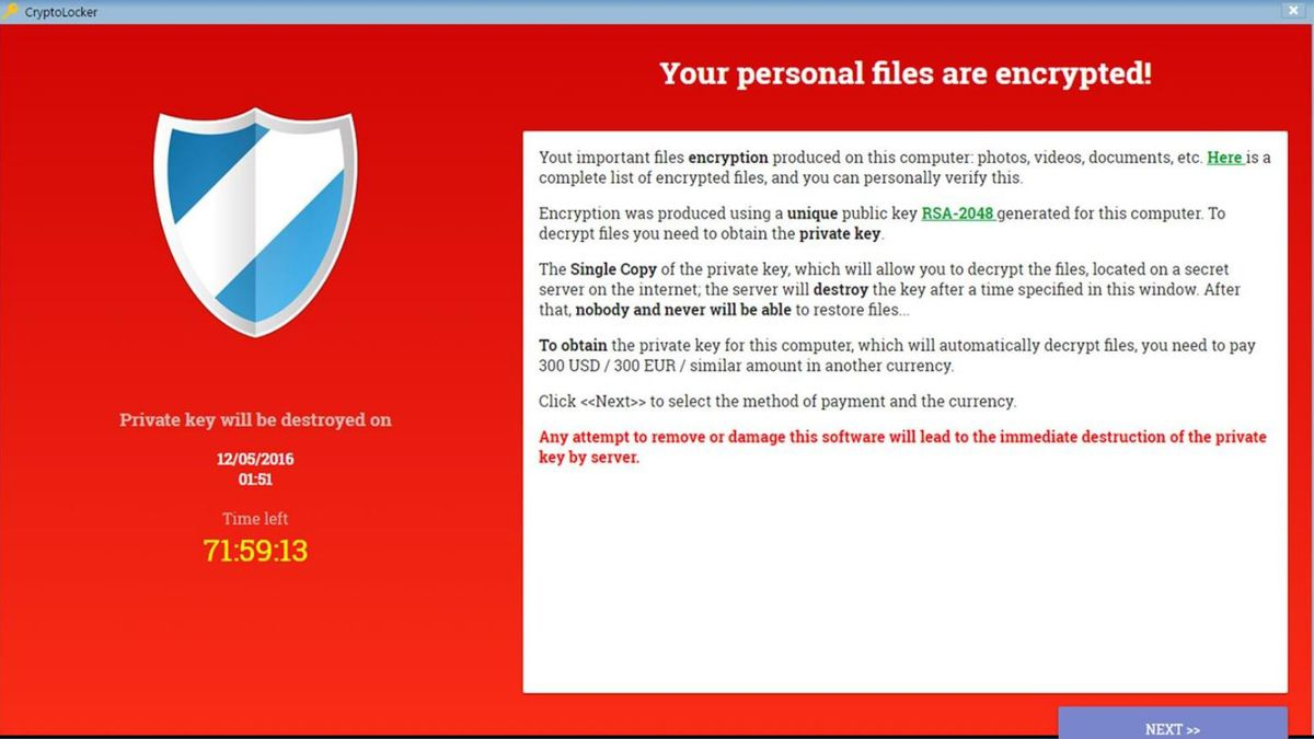 Crypolocker ransomware message (Image from nigc.gov)