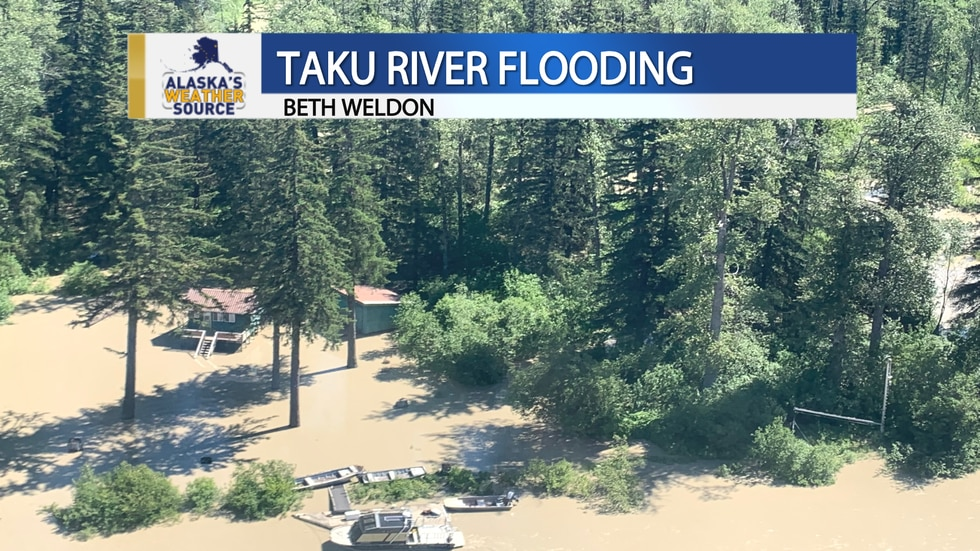 High water levels continue to impact homes and structures near the Taku River.