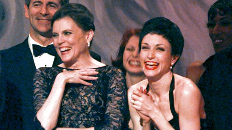 Ann Reinking, left, and Bebe Neuwirth share a laugh on stage while accepting the award for best...