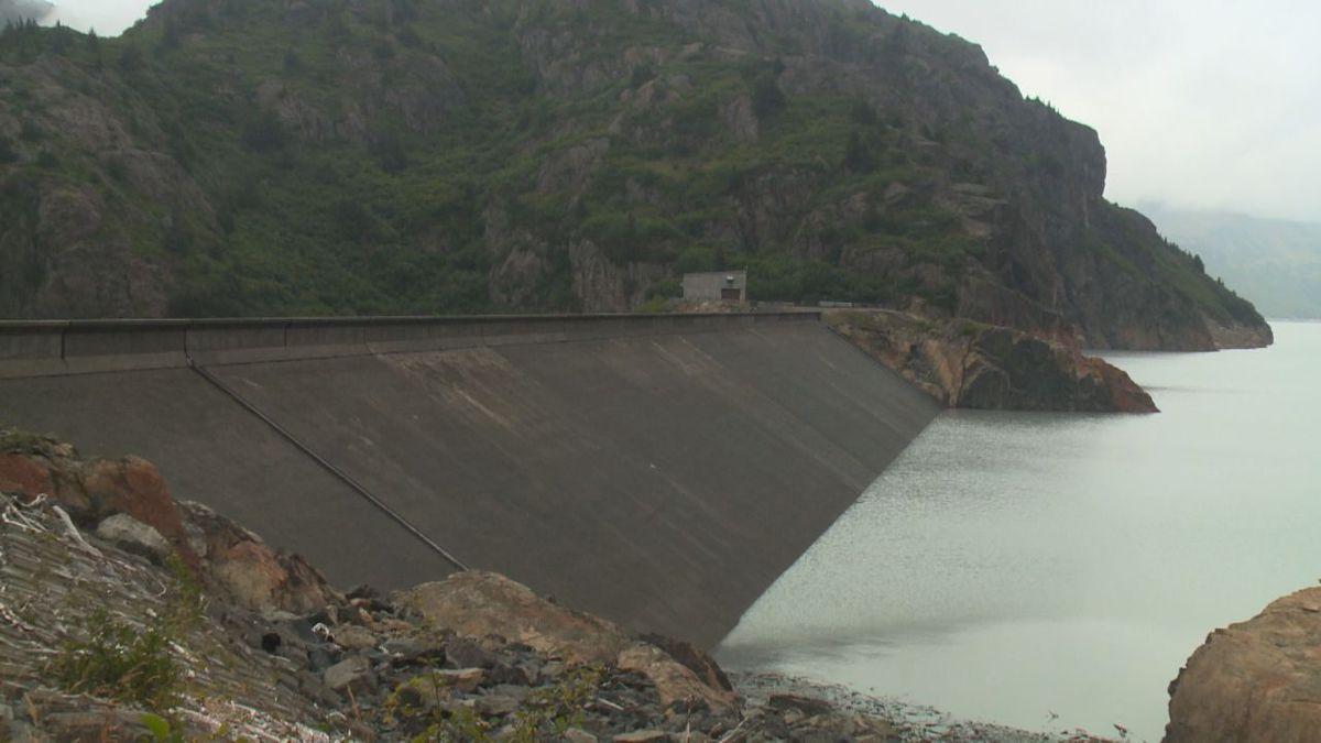 The Bradley Lake Dam halts water at Alaska's largest hydroelectric plant, near Kachemak Bay.