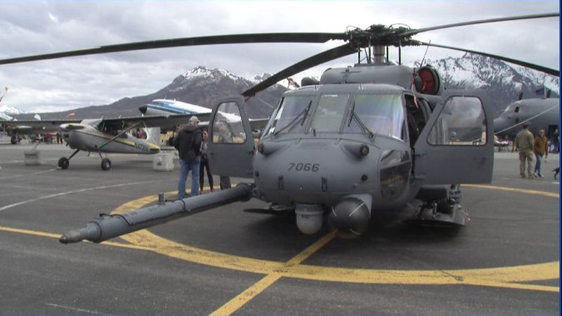 UH-60 Pave Hawk helicopter from AK Air National Guard's 210th Rescue Squadron, and HC-130...