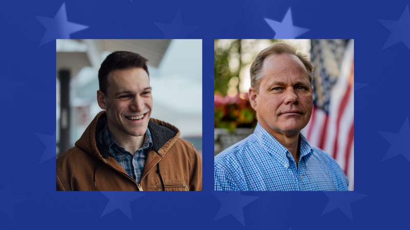 Anchorage mayoral candidates Forrest Dunbar (left) and Dave Bronson (right).