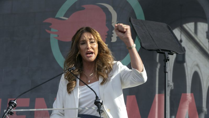 In this Jan. 18, 2020, file photo Caitlyn Jenner speaks at the 4th Women's March in Los...