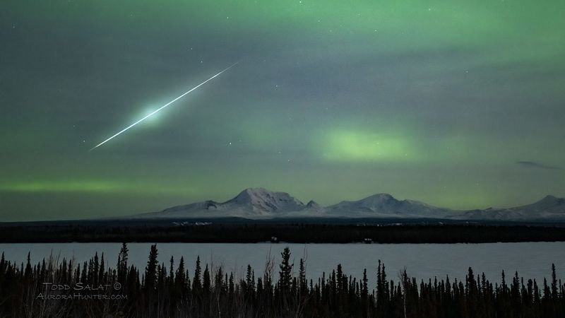 The Aurora Hunter, Todd Salat, captured this shot of a meteor while he was doing a test shot of...