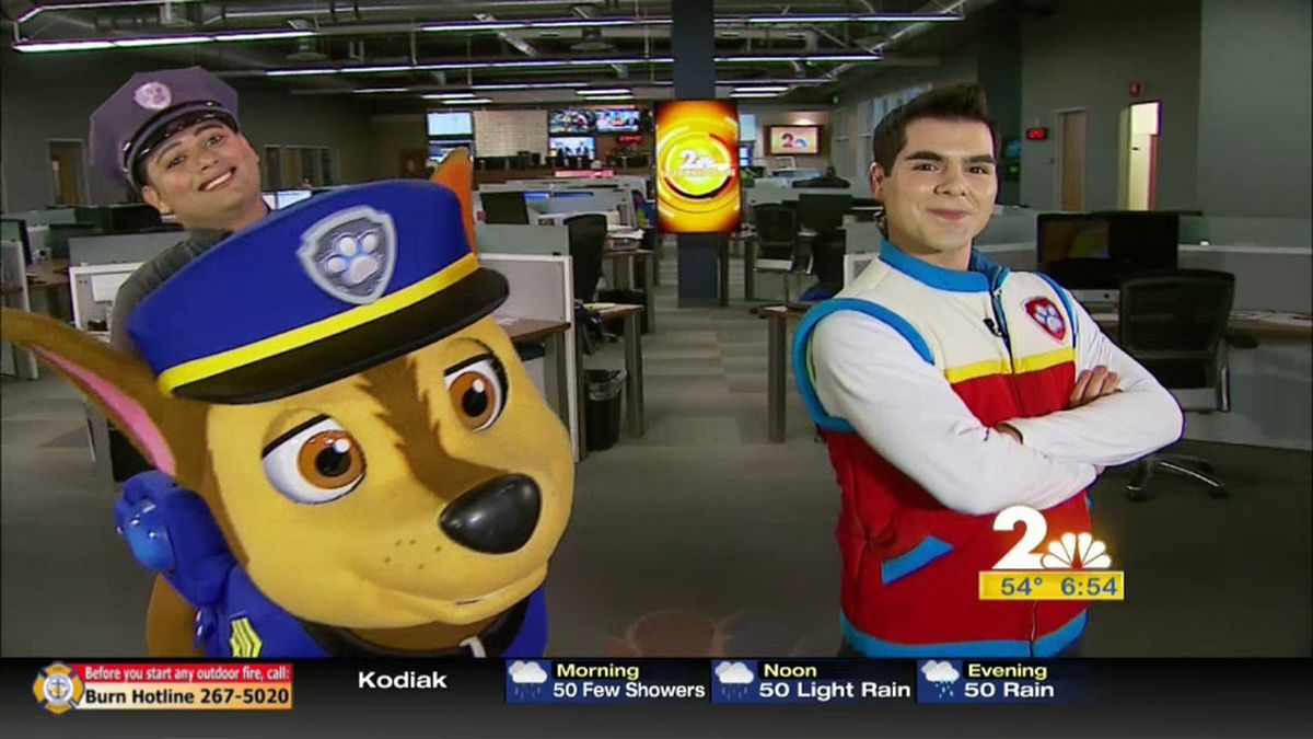 Paw Patrol Live's Ryder and Chase take over the Channel 2 studios.