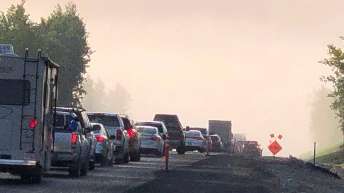 Sterling Highway smoke from Swan Lake Fire source Division of Forestry
