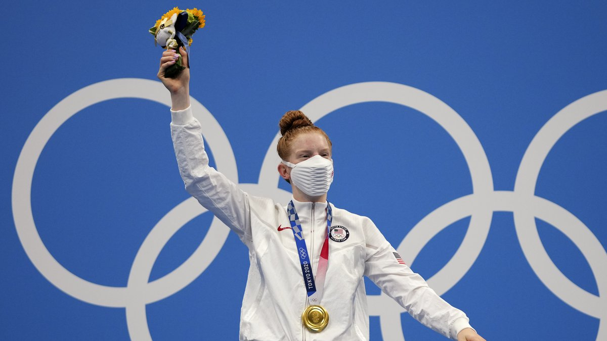 Gold medalist Lydia Jacoby of the United States celebrates on the podium after the final of the...