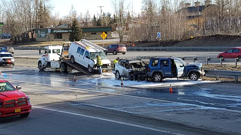 A multiple car crash that resulted in a fire shut down the Glenn Highway during the morning...