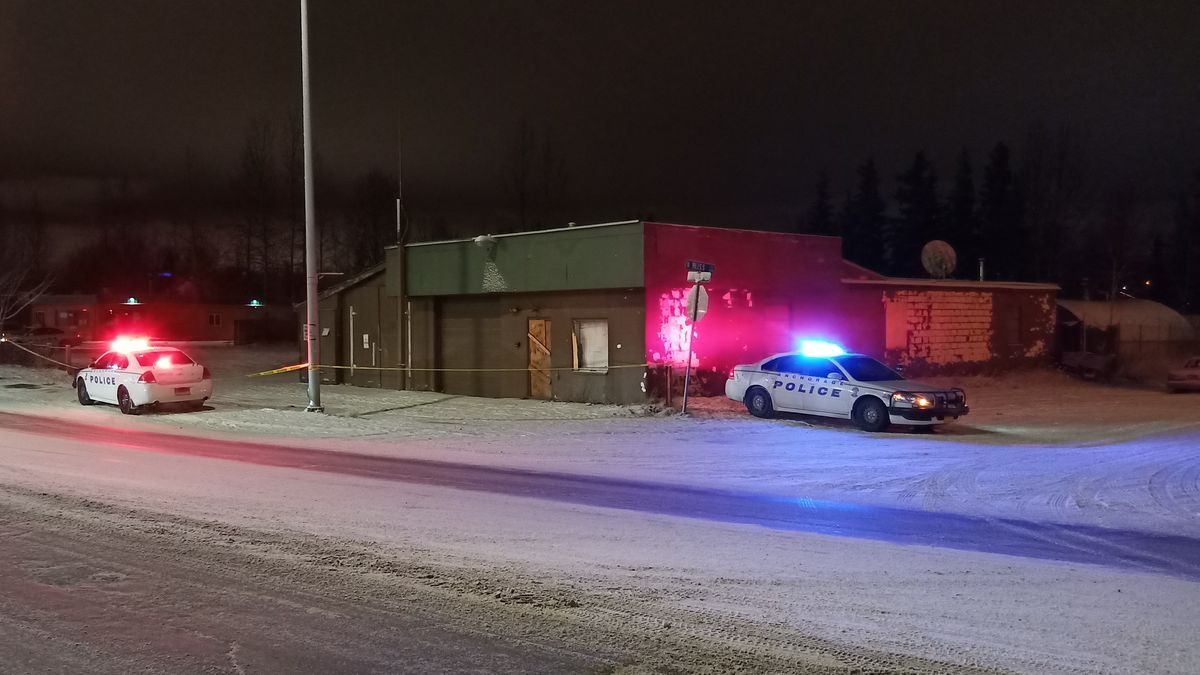 Anchorage police at the scene of a homicide in the 4500 block of Mountain View Dr. Friday night.