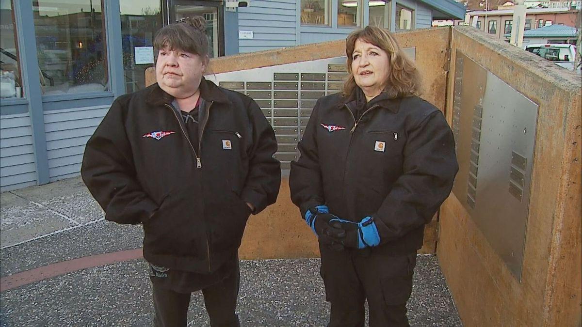Gerry Cobban Knagin & Deanna Cobban at the Fishermen's Memorial in Kodiak