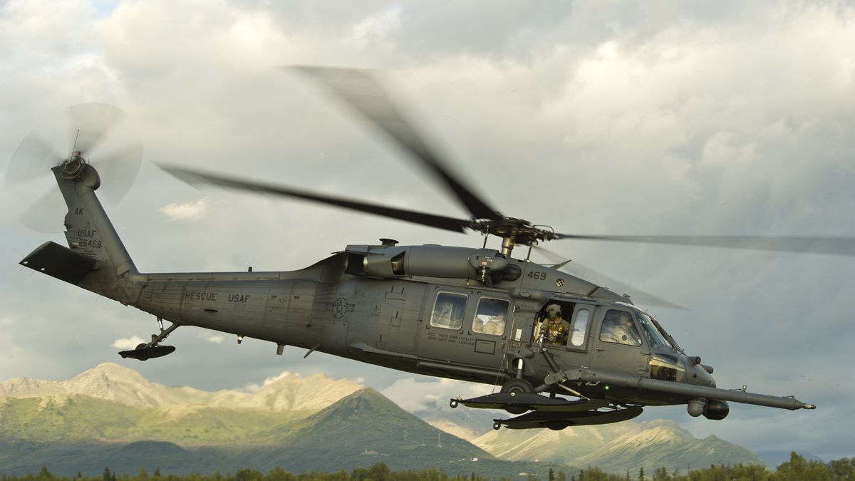 A HH-60G Pave Hawk on a training mission. From Alaska Air National Guard.