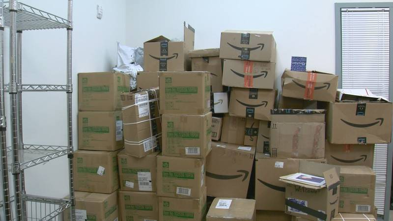 Catholic Social Services in Anchorage has boxes of donated goods for Afghan refugees set to...