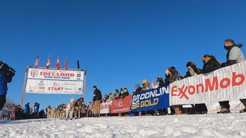 The 2021 Iditarod start line in Deshka Landing.