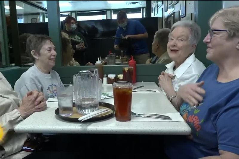 A group of regular customers at Lucky Wishbone. These ladies kept to their weekly Tuesday lunch...