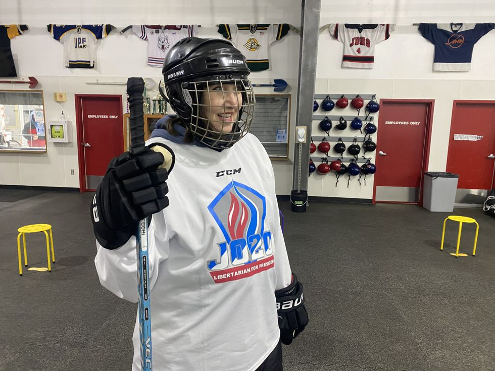 Dr. Jo Jorgensen getting ready to play hockey in Juneau, she says she is more a fan of playing...