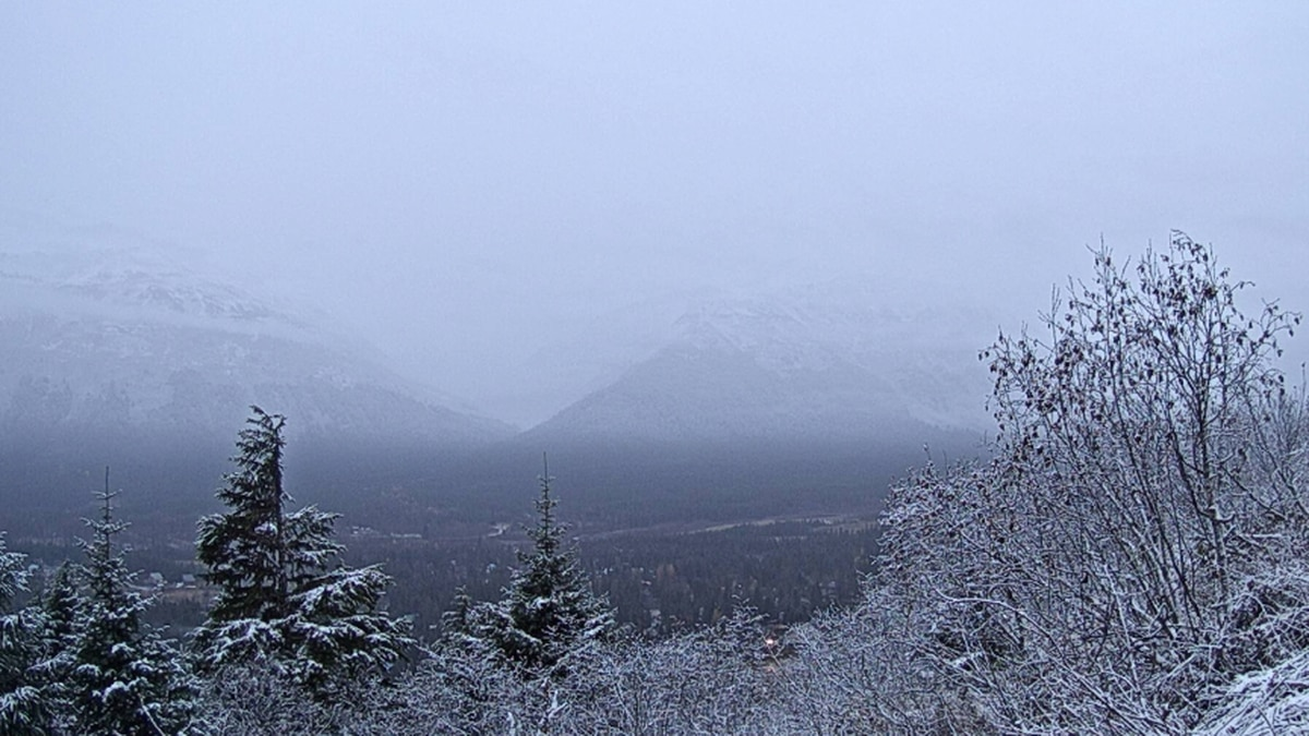 Anchorage sees the first snow of the season. View from our Girdwood Weather Camera