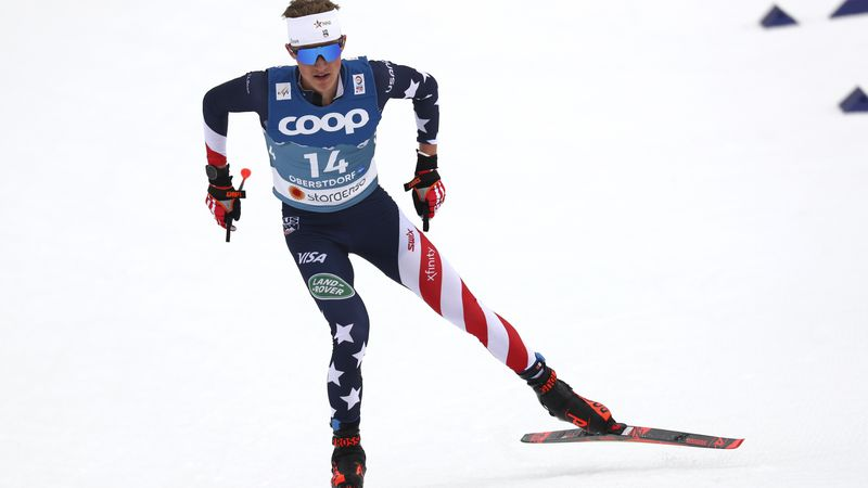 USA's Gus Schumacher competes during the WSC Men's Interval 15km Free Cross Country event at...