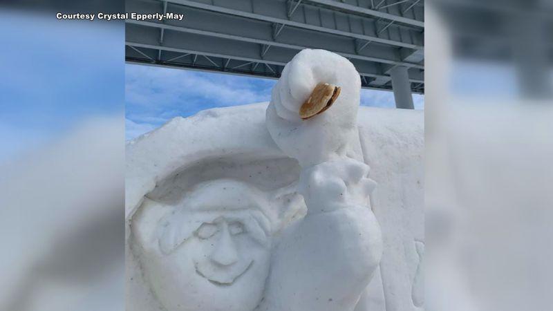 Snow sculptures down at Ship Creek vandalized
