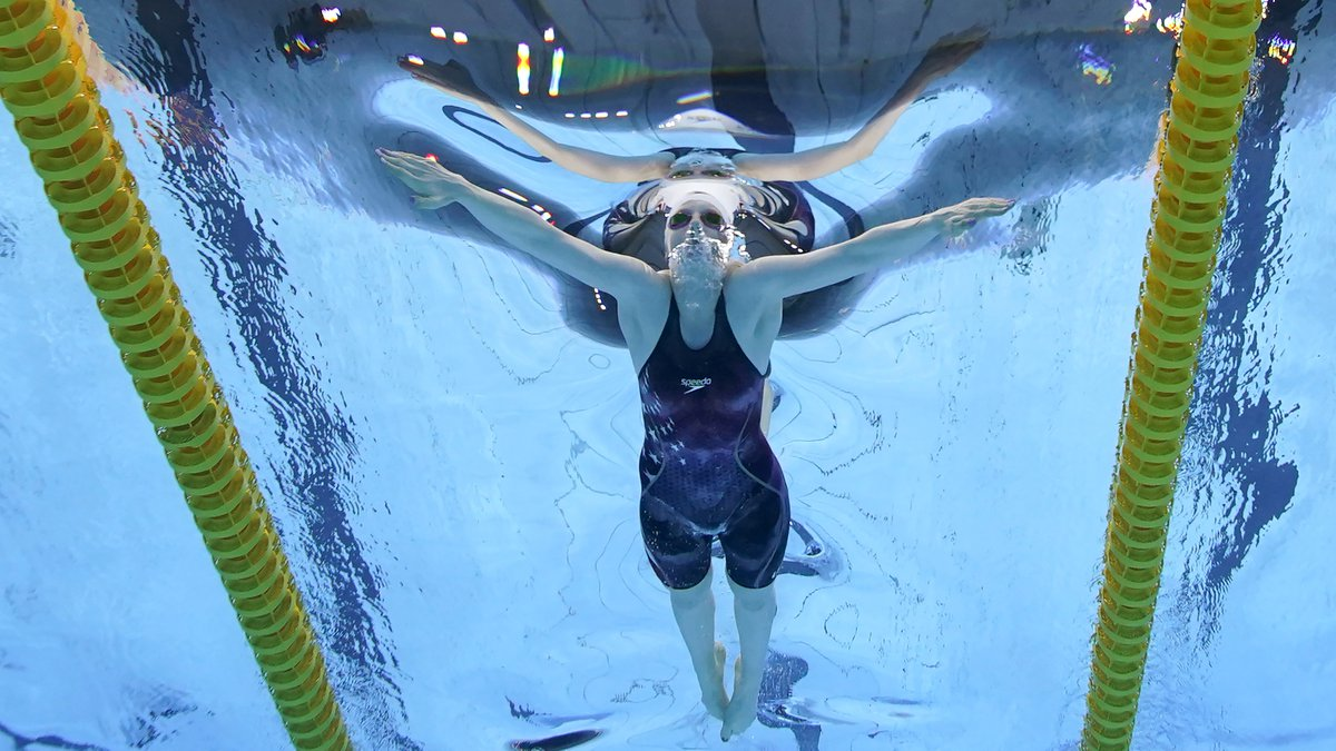 United States' Lydia Jacoby competes in a 100-meter breaststroke semifinal at the 2020 Summer...