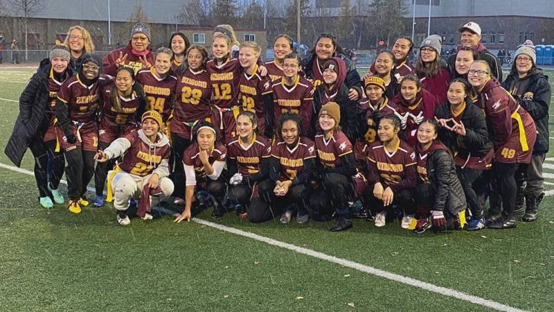 The Dimond flag football team celebrates after winning the 2021 Cook Inlet Conference...