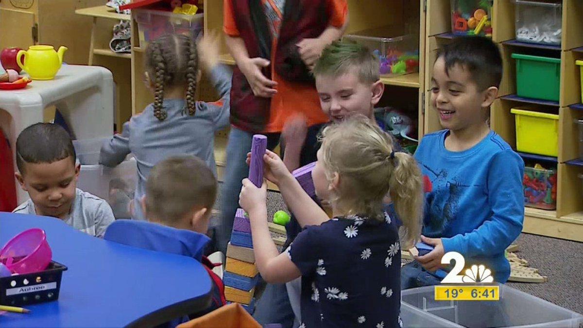 Kindergarten students taking part in indoor recess at Kasuun Elementary.