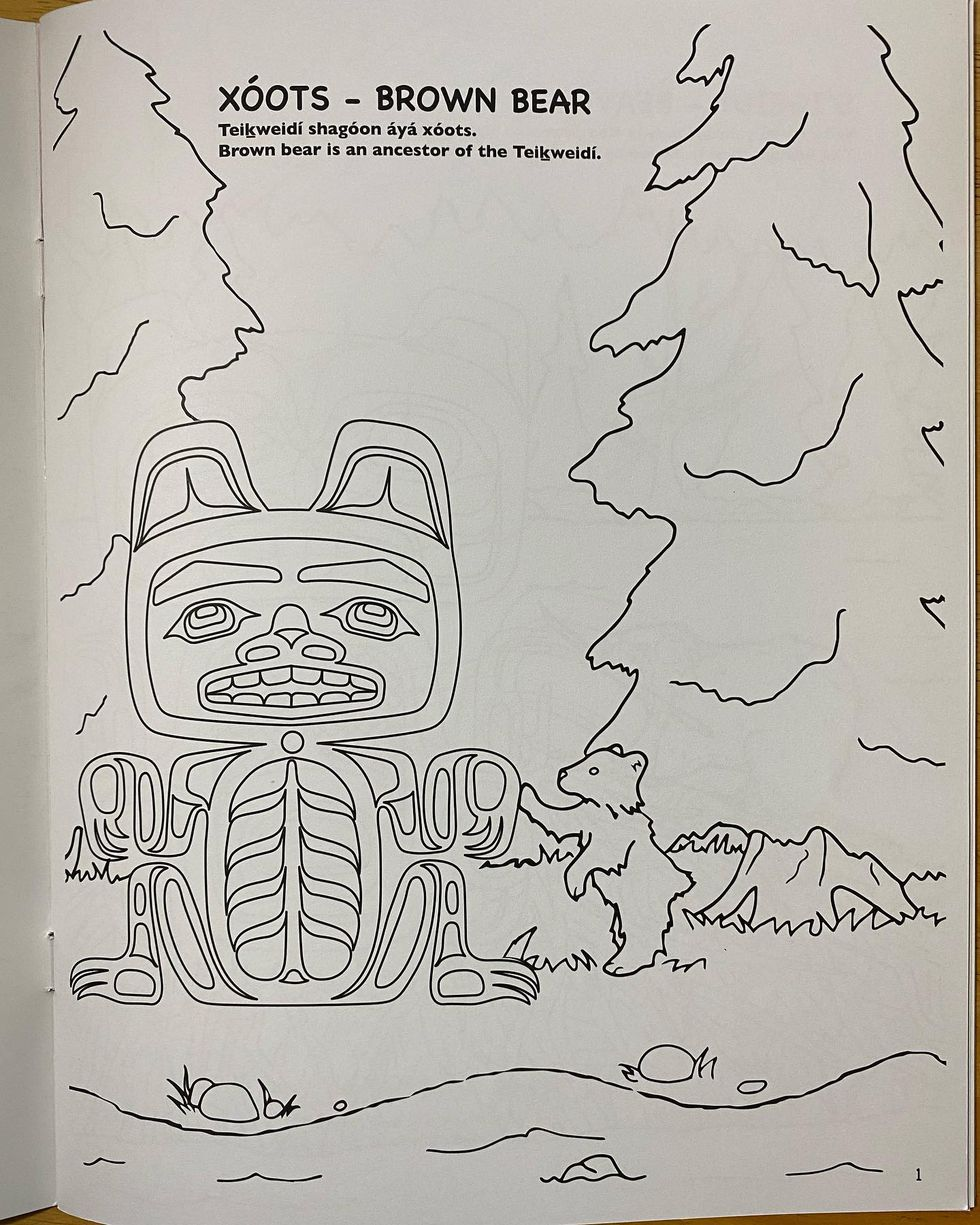 Tlingit Animals coloring and language book by Alison Bremner.