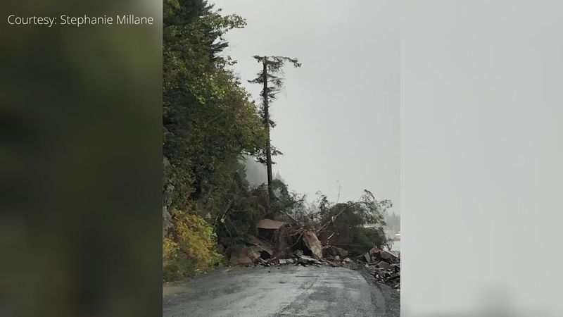 A substantial landslide on Lowell Point Road has blocked both lanes of traffic and is not...