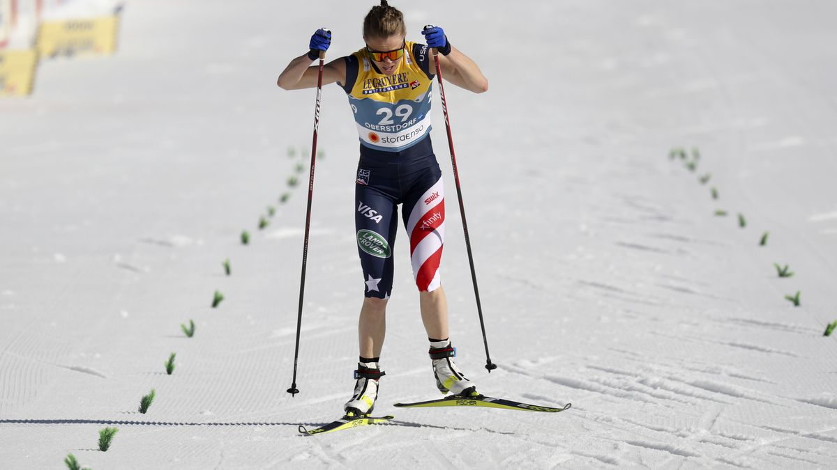 Sadie Maubet Bjornsen of the United States competes on the finish line during the 10km women's...