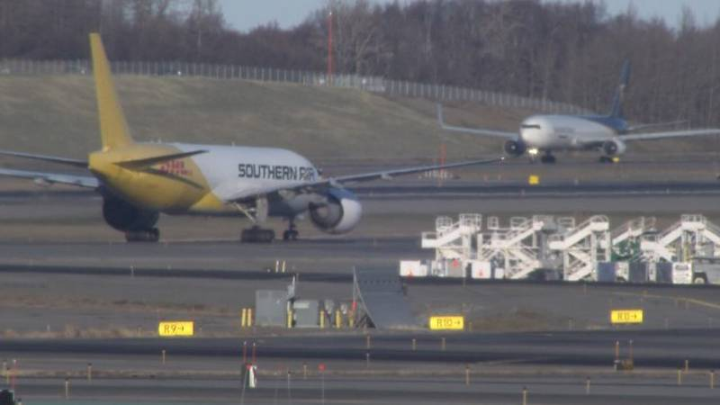 Cargo flights arrive at Ted Stevens Anchorage International Airport