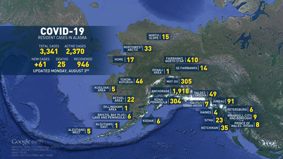 Main map of Alaska with COVID-19 numbers