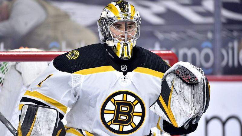 Boston Bruins goaltender Jeremy Swayman in action during an NHL hockey game against the...