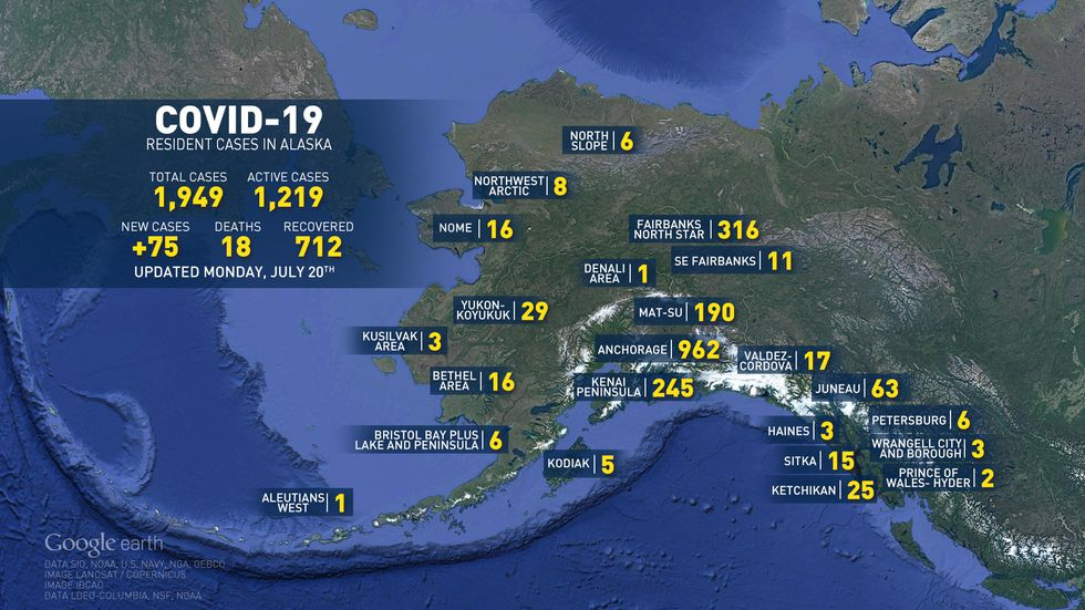 Number of COVID-19 cases in Alaska.