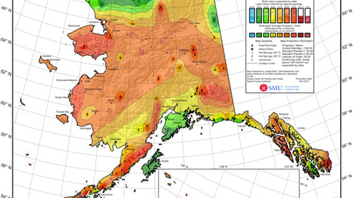 A map of heat values across Alaska. Courtesy of Alaska Center for Energy and Power.