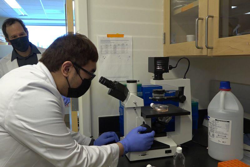 Dr. Eric Bortz overlooking graduate student, Ralf Dagdag as they do research on the coronavirus.