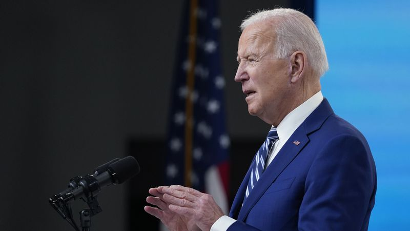 President Joe Biden speaks during an event in the South Court Auditorium on the White House...