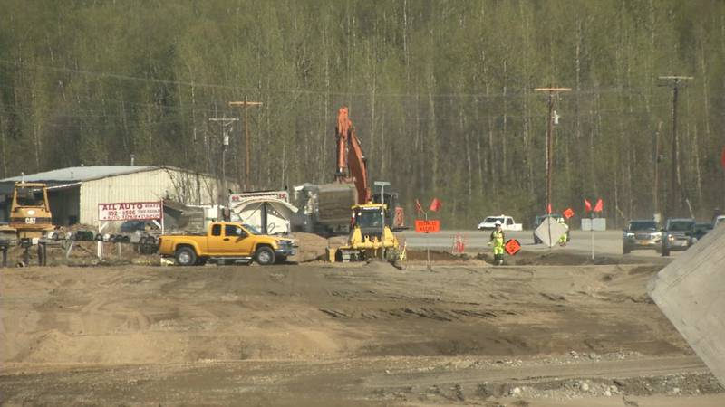 Construction is underway on the Parks Highway near Johnsons Road.