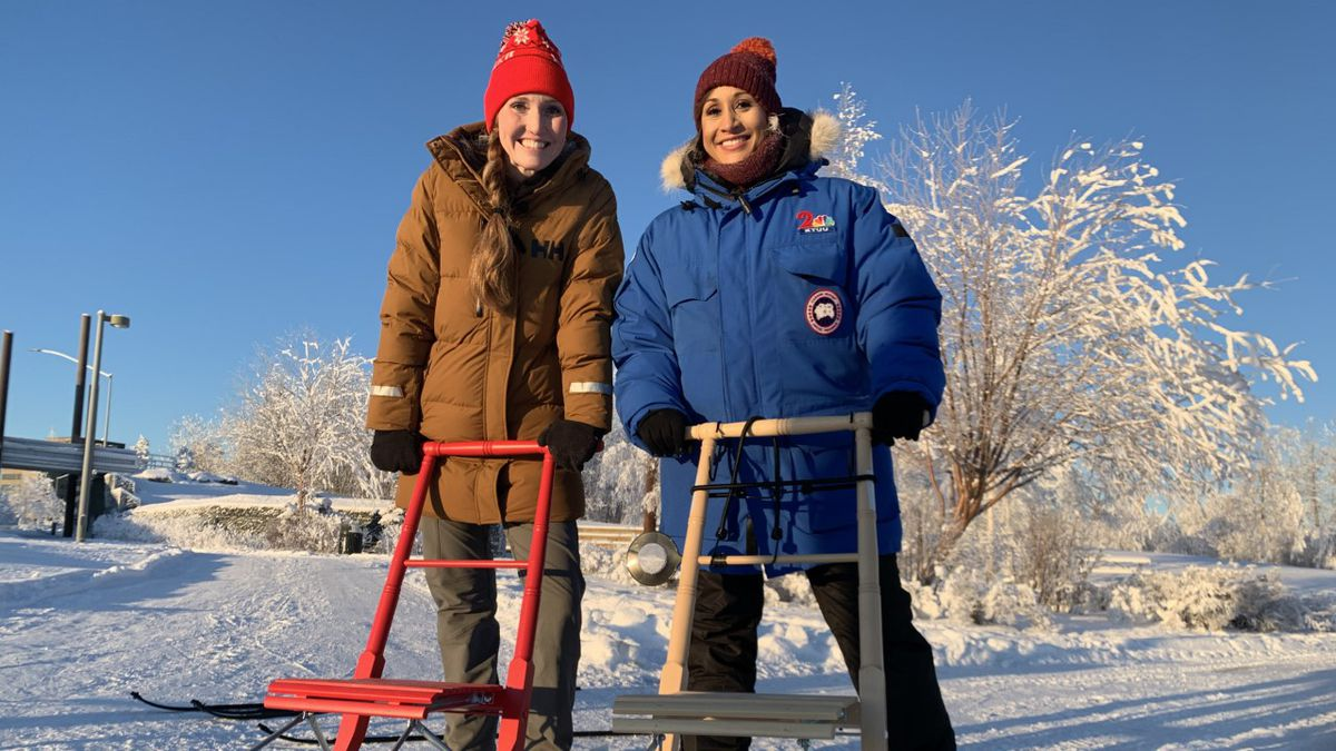 Kicksled Alaska Owner, Valerie Walsh and the Morning Edition's Ariane Aramburo.