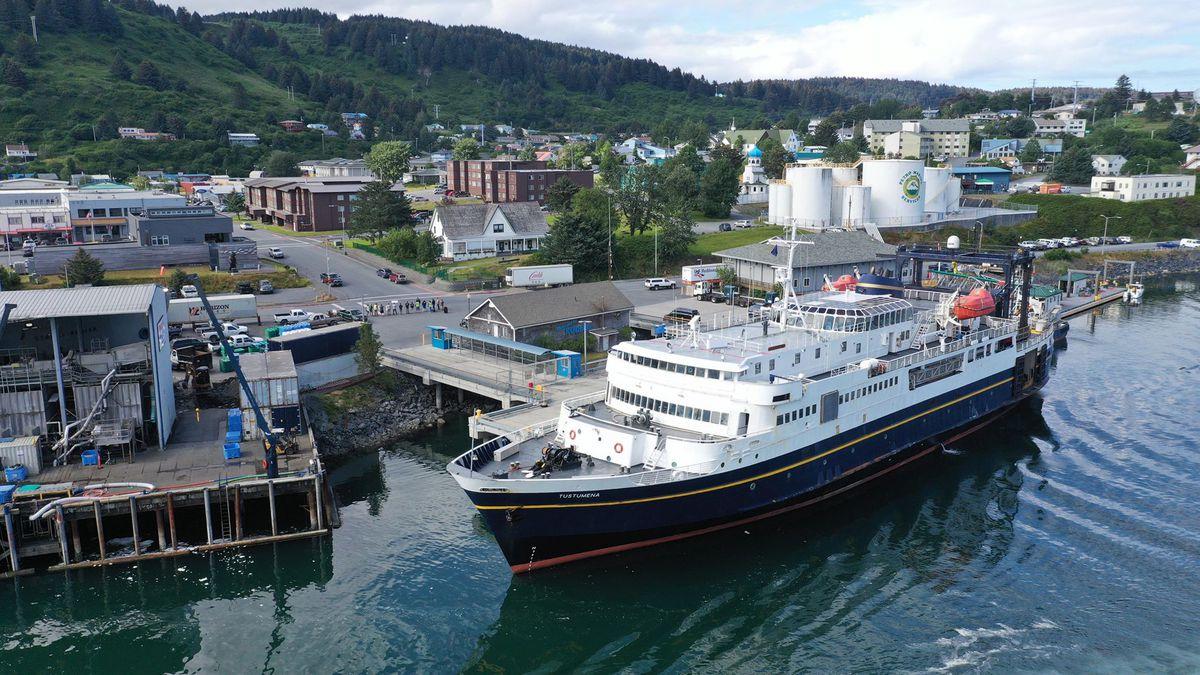 The ferry 'Tustumena' docked in Kodiak, next to a line of picketing boatmen. (Photo courtesy...