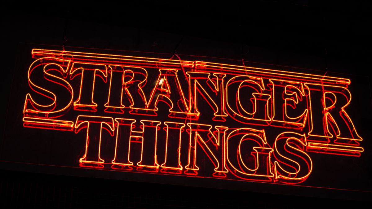 "The logo of the Netlfix series ""Stranger Things"" is seen at the Paris Games..."
