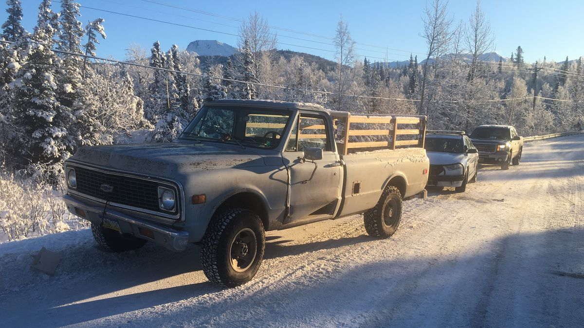 Image of the stolen truck that was abandoned near Hillside Drive and O'Malley Road (Photo by Eric Sowl / KTUU)