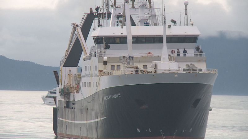 The American Triumph arriving in Seward on July 22nd, 2020.