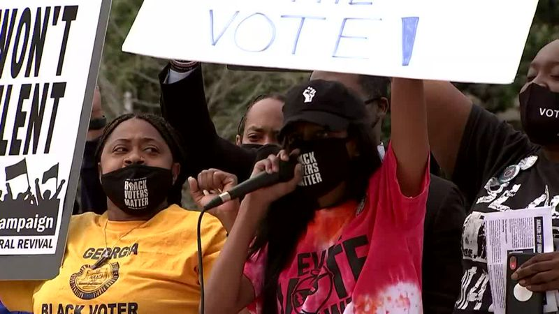 Groups move to challenge Georgia voting law in courts.