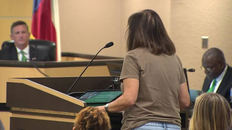 Parents speak out against an administrator's Holocaust comment on Monday during a Carroll...