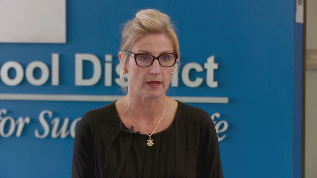 Anchorage School District superintendent Deena Bishop speaks at a news conference about the...