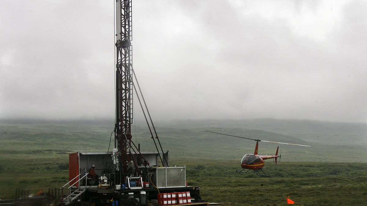 A helicopter lands near a test drilling site for the Pebble Mine in Southwest, Alaska on July,...