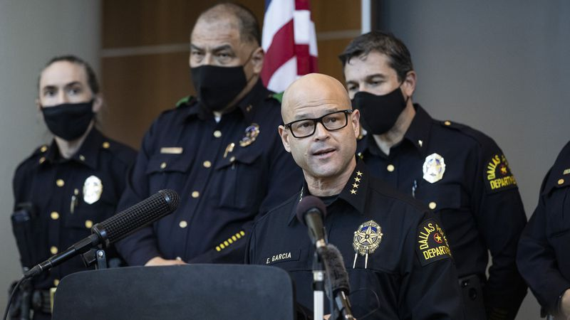 Chief Eddie García, center, speaks with media during a press conference regarding the arrest...